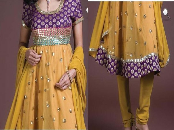Latest Anarkali Fashion Dress – Yellow A-line Frock Churidar