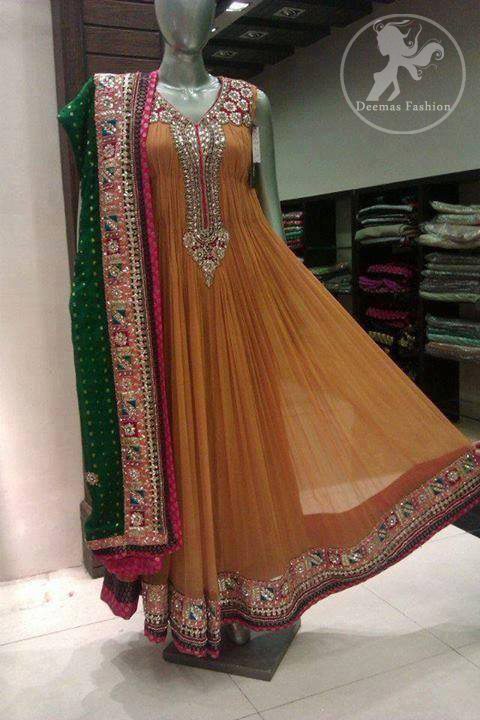 Light-Brown-Orange-anarkali-frock-with-embellished-bottle-green-dupatta