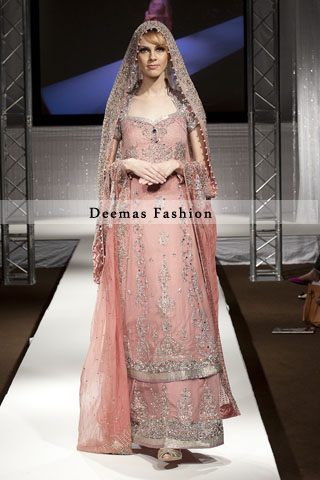 Latest Light Peach Bridal Wear Lehnga