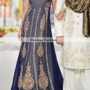 Navy Blue Heavy Embroiderd Frock Lehnga