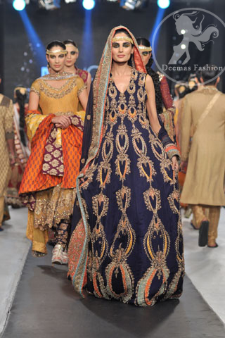 Navy Blue Heavy Long Bridal Frock Embroidered Sharara