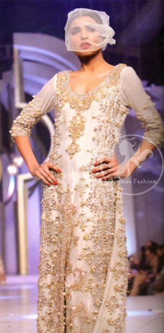 Pakistani Walima Maxi Dress - Off White Double Layer Maxi