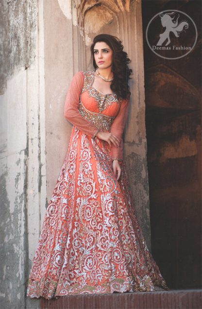 Orange Peach Fully Embroidered Heavy Maxi with hammer work