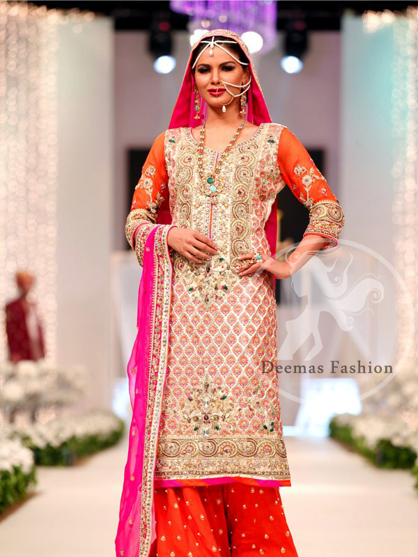 Orange Shocking Pink Shirt Sharara