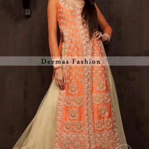 Orange White Front Open Shirt Sharara