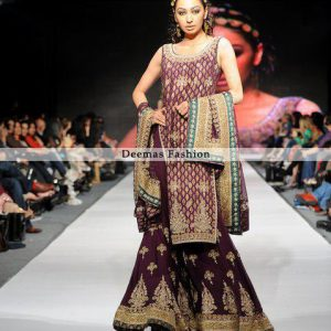 Pakistani Bridal Collection Plum Shirt and Sharara