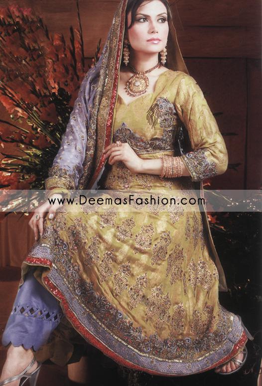 Pakistani Bridal Designer Dress - Golden Blue Anarkali Dress
