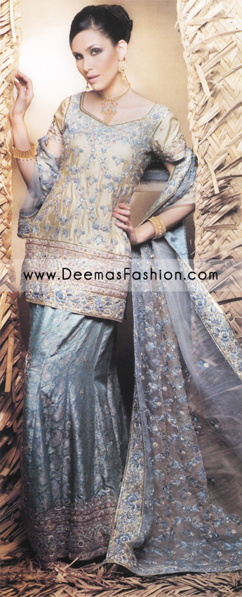 Buy Pakistani Bride Wear Online – Grayish Blue Golden Lehnga