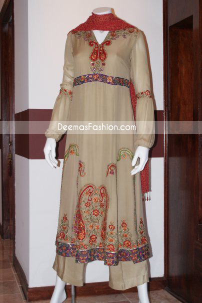 Casual Anarkali Dress Light Brown Embroidered Dress