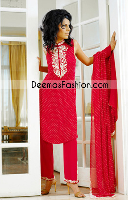 Pakistani Latest Casual Wear - Trendy Red Casual Dress