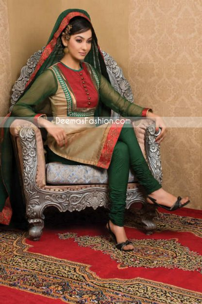 Pakistani Designer Clothes Dark Green Golden Dress