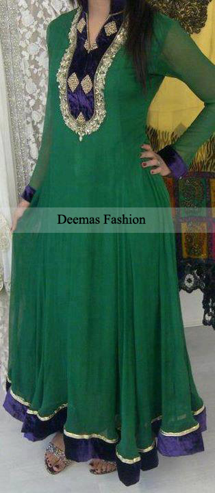 Pakistani Designer Collecion Dark Green Anarkali Frock