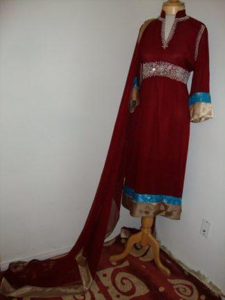 Pakistani Designer Dress - Maroon Casual Wear
