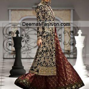 Pakistani Designer Wear Bridal Dress - Maroon Black Sharara