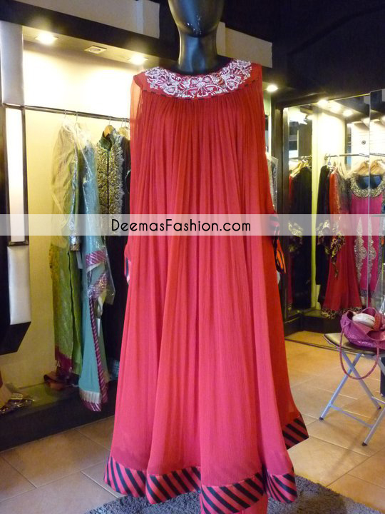 Pakistani Designer Wear Collection Pinkish Red Gown