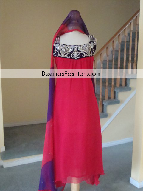 Pakistani Designer Wear Collection Red Casual Wear Dress