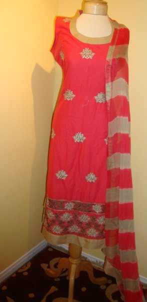 Pakistani Designer Wear Dress - Red Casual Dress