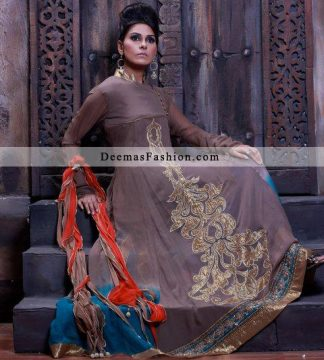 Latest Pakistani Designer Wears Grayish Brown Casual Dress