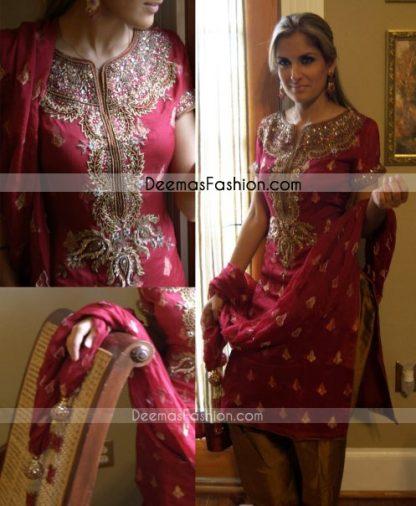 Pakistani Designers Collection Deep Red Rust Dress