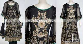 Latest Pakistani Dress - Black Anarkali Embroidered Frock