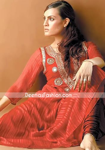Pakistani Designer Wear - Red Anarkali Churidar Dress
