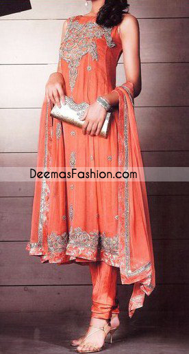 Pakistani Fashion Dresses - Orange Traditional Anarkali Dress