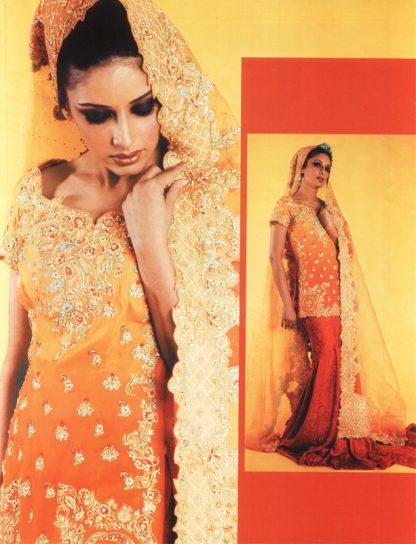 Pakistani Traditional Bridal Dress – Red Orange Lehnga