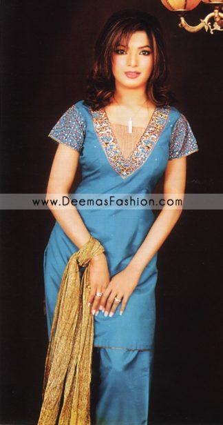 Pakistani Traditional Dress - Blue Shalwar Kameez