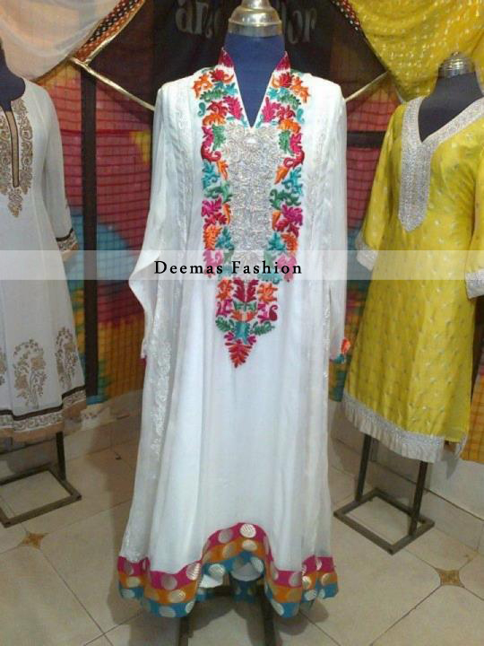 Pakistani Fashion White with Multi Color Embroidery A Line Dress