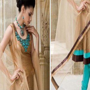 Pakistani Anarkali Fashion – Light Brown Sea Green Frock Churidar
