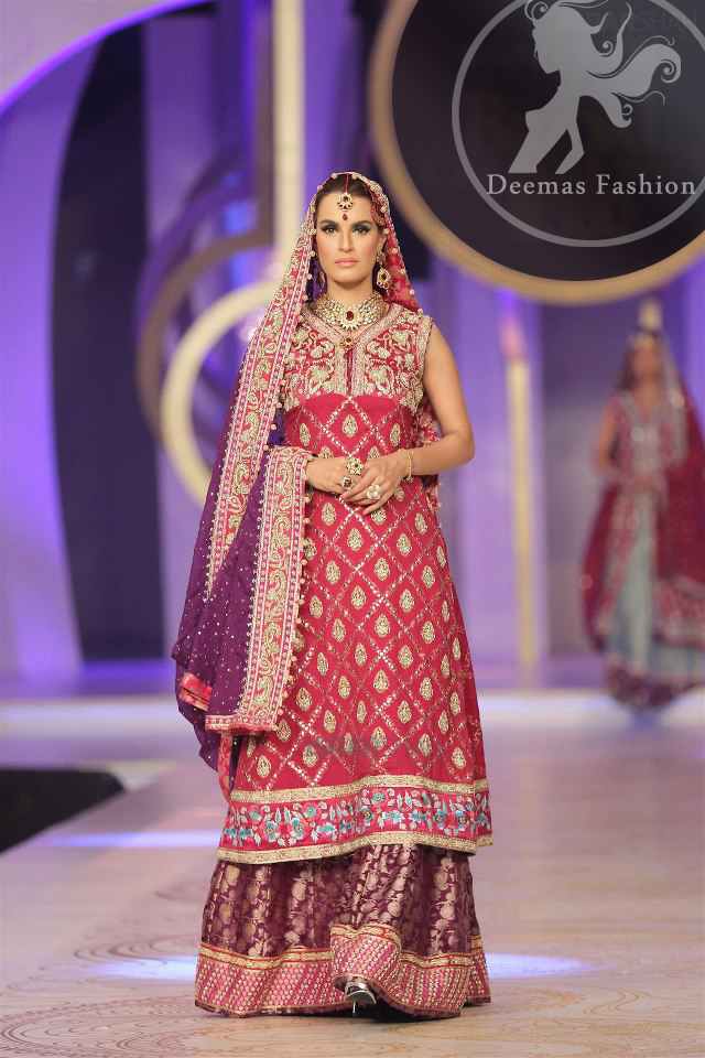 Pinkish-red-aline-frock-with-purple-lehnga-and-dupatta
