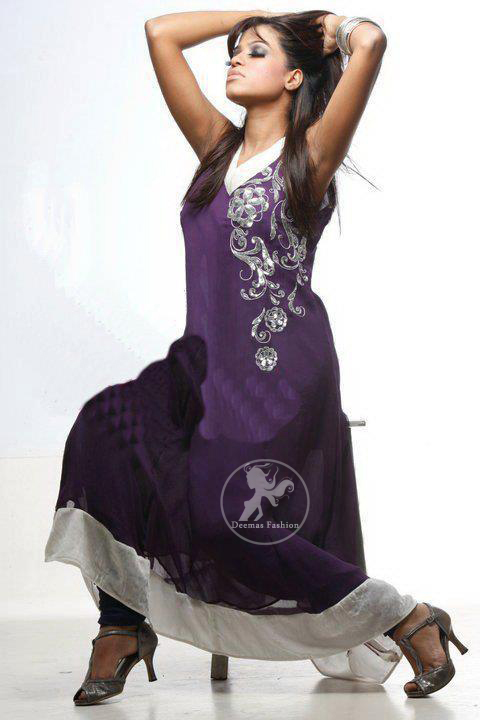 Purple-Aline-casual-frock-with-silver-border