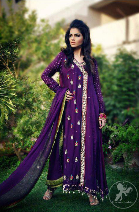 purple aline casual angrakha style dress pakistani
