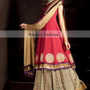 Red Latest Party Wear Pure Chiffon Frock With Pure Banarsi Lehnga