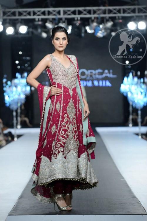 Reddish Pink Heavy Embellished Anarkali Frock Churidar