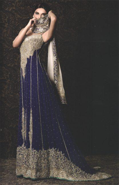 Royal Blue Back Trail Bridal Wear Maxi Off White Dupatta