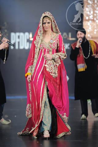 Shocking Pink Bridal Wear Anarkali Pishwas Dress