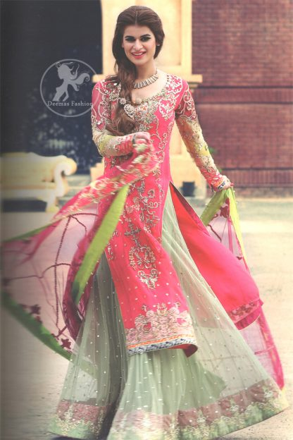 Shocking Pink Embroidered Shirt with Light Green Lehengha for Mehndi Function
