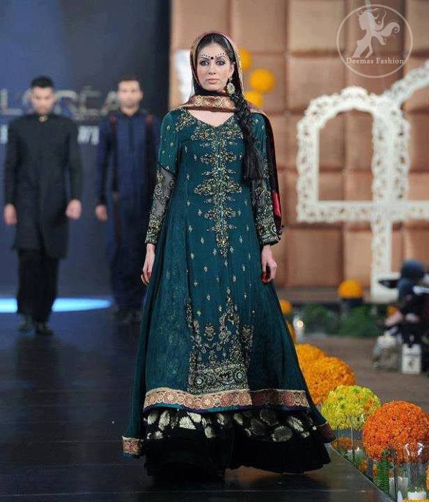 Teal-bouble-layer-anarkali-frock-and-trouser