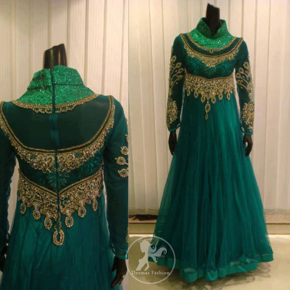 Teal Net Frock with Front Back Embroidery on Bodice