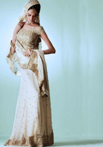 Traditional Pakistani Fashion - White Lehnga