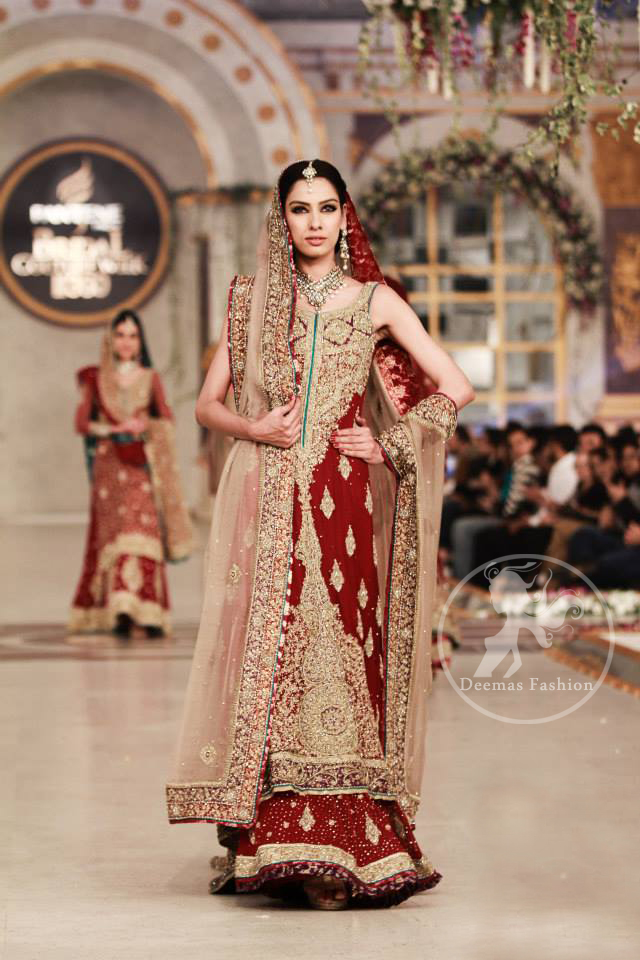 Wedding Outfit Deep Red Heavy A Line Shirt Lehenga with Light Fawn Dupatta