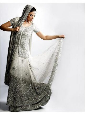 White Silver Grey Lehnga with Anarkali Frock