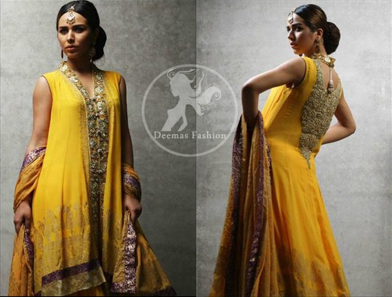 Yellow-back-trail-frock-and-lehenga