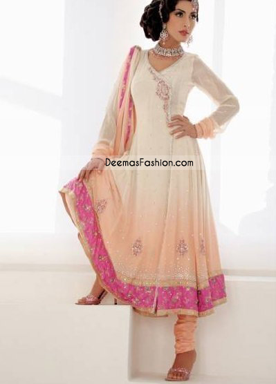 Ladies Anarkali Dress - Peach White Pishwas