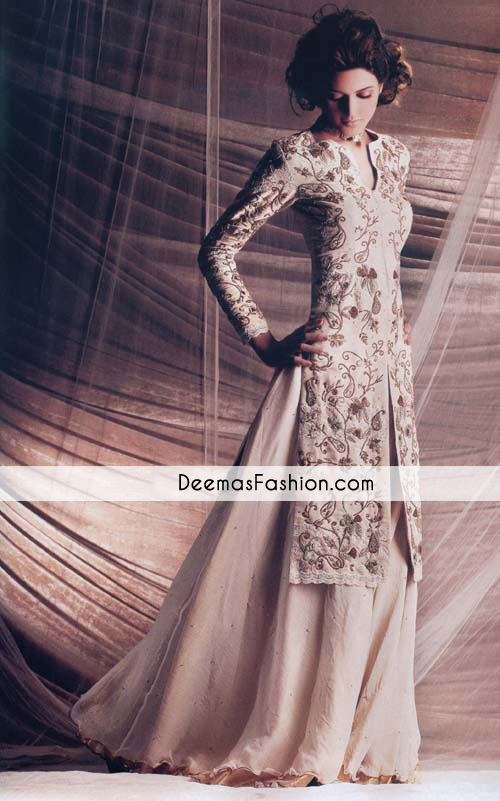 Beige Bridal Wear Sharara