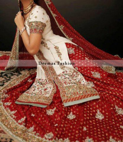 Bridal Wear Collection White and Red Front Open Shirt Sharara