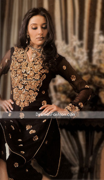 Pakistani Designer Clothes – Black Chiffon