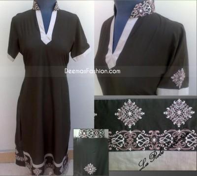 Latest Ladies Fashion Black Grey A-Line Shirt