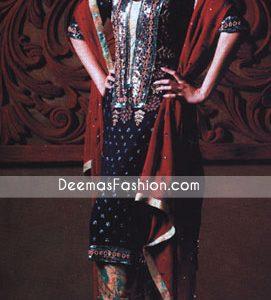 Black Jamawar With Red Chiffon Dupatta